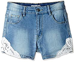 Nauti Nati Girls' Shorts (NSS16-983_Blue_8Y)