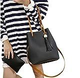 Tongshi Moda mujer borlas de cuero solo saco de hombro bolso + embrague (Negro)