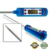 CUCCOT MT-02 Cooking Thermometer, Wireless Digital Thermometer for Food, Meat, Grill, BBQ and Candy, Best Thermometer for Liquids, Sugar, Oven Thermometer with Stainless Steal Probe - Easy to Operate - 100% Guarantee (Blue)