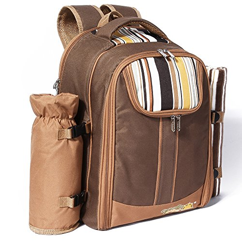 Ferlin Picnic Backpack for 4 With Cooler Compartment,