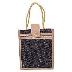Womaniya Ethnic traditional Handicraft Lunch Bag for Women Girl Men Boy (Black)