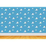 7x5ft story clould blue sky Cartoon toy wall backdrop Computer print children kids baby shower party wood floor background cst792 (Color: Blue)