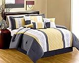 8 Piece Yellow White Grey EMBROIDERED MIRANDA Comforter Set Queen size
