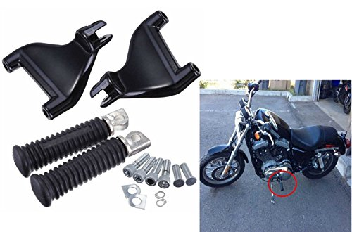 MAGGIE MOTO® Passenger Rear Foot Pegs Footpegs Mount Kit For 2004-2013 Harley Sportster Iron XL 883 1200 48 72 (Full Set)