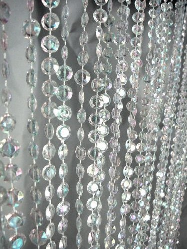 Iridescent Faux Crystal Beaded Curtain