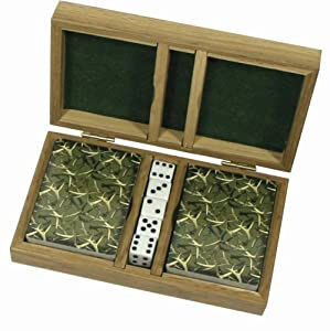 River's Edge Whitetail Deer Playing Cards with Dice in Wood Box
