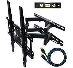 ECO-BEST TM 003M Cantilever Tilt Swivel Corner TV Wall Mount Bracket for 20-55 inch LCD LED and Plasma Flat Screen TVs some up to 55 inch VESA 400x400 Full Motion Articulating Dual Arm Mount Including a 10 HDMI Cable and a 6 3-Axis Magnetic Bubble Level