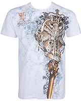Sakkas Aigle Perché sur Epée En relief argent métallique Manches courtes Col rond Coton T-Shirt Fashion homme
