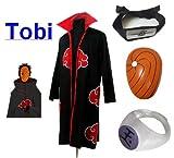 Cosplay Naruto Akatsuki Ninja traje de cosplay Tobi Set - Capa (L: Tamaño 169cm-176cm) +Tobi diadema + ninjas Tobi máscara + Tobi anillo