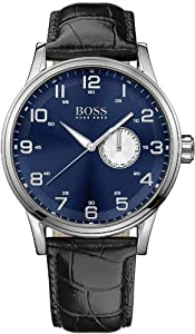 Hugo Boss Blue Dial Black Leather Mens Watch 1512790