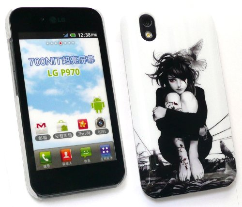 Emartbuy Lg Optimus Black / White P970 Tattoo Girl Super Slim Clip On Protection Case / Cover / Skin
