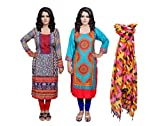 Indistar Women Pashmina Jaamavaar Digital Printed Unstitched Kurti Fabric Combo With Super Soft Silk Stole