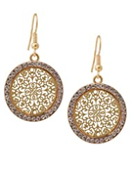 Varaagk Hook Style Big Round Drop Earring With Gold, Silver And Crystal