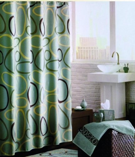 Geometric Swirl Printed Green Shower Curtain With Hooks Lindsay