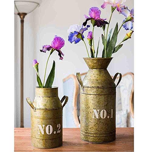 Watering Honey Galvanized Old Milk Can Country Rustic Primitive Jug Vase ~17.5 Inch 2