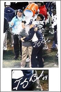 Tedy Bruschi New England Patriots Signed 16x20 Photo pouring Gatorade Belichick