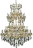 Elegant Lighting 2800G54G-GT/SS Theresa Collection 61-Light Large Hanging Fixture with Swarovski Strass/Elements Golden Teak, Gold Finish