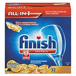 RECKITT BENCKISER PROFESSIONAL Dish Detergent Gelpacs, Orange Scent, Box of 32 Gelpacs (81053)