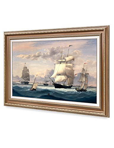 DecorArts -New York Harbor, Fitz Henry Lane Classic Art Reproductions. Giclee Prints & Matching Frame for Home Decor, 30x20