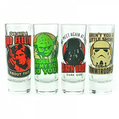 STAR WARS-Set di 4bicchierini da liquore-Eroi vs. Filibustieri-Maestro Yoda & Han Solo-Darth Vader e Stormtrooper-Confezione regalo