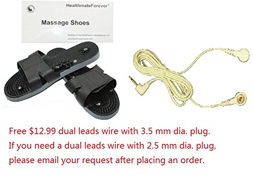 Healthmate Forever Healthmateforever Massaging Shoes Massaging Sliper For Best Electronic Pulse Massager Electrotherapy Device + Free $12.99 Value Dual Leads Wire With 3.5Mm Dia. Plug. Help Blood Circulation, Ease Neuropathy Pain, Plantar Fasciitis. Porta