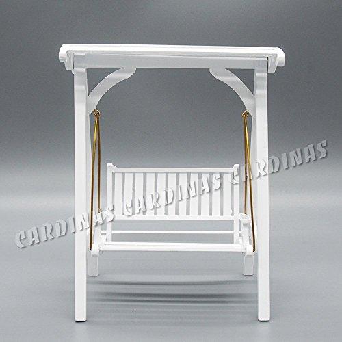 Odoria-112-Miniatur-Gartenmbel-Hollywoodschaukel-Gartenschaukel-2-Sitzer-Holz-Wei-Fr-Puppenhaus