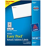 Avery Easy Peel Return Address Labels for Inkjet Printers, 0.5 x 1.75 Inches, White, Pack of 2000  (8167)