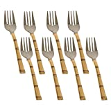 Cutlery Utensil Set Fork Stainless Steel And Copper Flatware, Set Of 6, Length 18 Cm