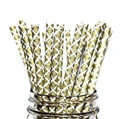 Paper Straws- Vintage- Gold Damask Party Disposable Straws (100 Straws)