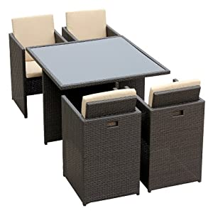 anndora polyrattan gartenm bel sitzgruppe tisch 4 st hle husse sitzkissen grau anndora amazon. Black Bedroom Furniture Sets. Home Design Ideas