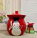 "SALE! Christmas Snowman, Hand Painted Ceramic, Cookie Jar 9-3/4""H, 87276 by ACK"