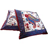 Throw Pillow Cases Block Printed Cotton Set of 2 Handmade Sofa Cushion Covers from India 41 x 41 cmsby DakshCraft