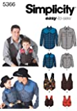 Simplicity Sewing Pattern 5366 Boys and Men Shirts and Vests, A (S-M-L/S-M-L-XL)