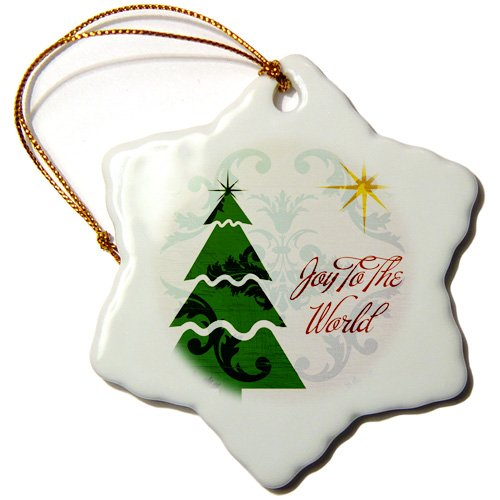 PS Vintage – Vintage Christmas Tree- Joy to the World – Ornaments – 3 inch Snowflake Porcelain Ornament (orn_79208_1)