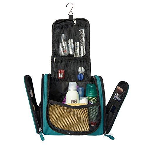 Ampia borsa da toilette di qualità con gancio per appenderla | Kit da viaggio spazioso per uomo e donna | Borsa da bagno con un sacco di scomparti (turchese)