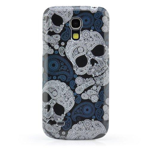Saxonia. Hardcase Handy Tasche für Samsung Galaxy S4 Mini GT-i9190 / GT-i9195 LTE Tolle Schutz Hülle Bumper Back Cover Slim Schale Etui Case Oberschale Schädel Skull Schwarz Black