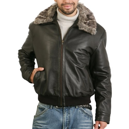 Landing Leathers Men's Cowhide Leather Bomber Jacket with Faux Fur Trim - Brown Stone Large