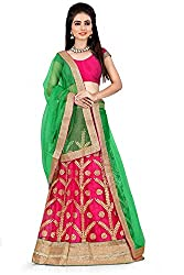 Pushty Fashion Light green and pink With Golden Embroidered Net Lehnga