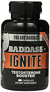 Baddass Nutrition Ignite Testosterone Booster Capsules, 60 Count (Pack of 4)
