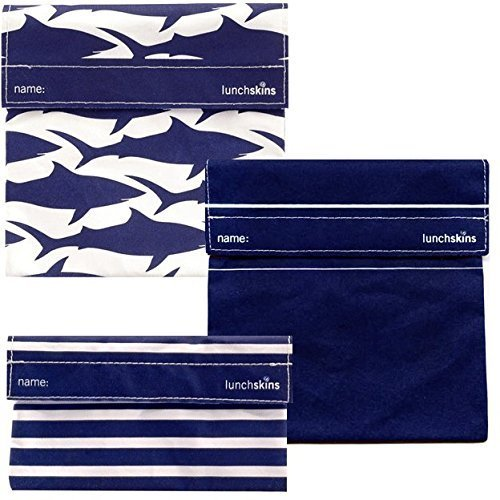 Lunchskins 3pk Reusable Sandwich Bags: Shark Solid Stripes - 1