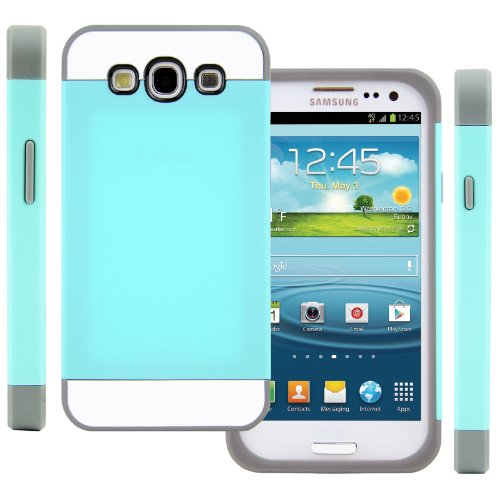 Celljoy Hybrid Tpu 2Pc Layered Hard Case Rubber Bumper For Samsung Galaxy S3 Siii (At&T / Verizon / Us Cellular / Sprint / T-Mobile / Virgin / Boost / Metropcs / Unlocked) [Celljoy Retail Packaging] (Teal / Gray / White)