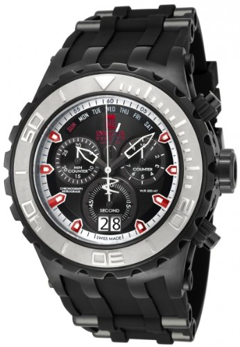 Invicta Specialty Men's Quartz Watch with Black Dial  Chronograph display on Black Plastic Strap 16663
