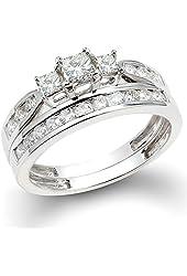 1.00 Carat (ctw) 14k White Gold Princess & Round 3 Stone Diamond Ladies Bridal Ring Set Engagement Set 1 CT