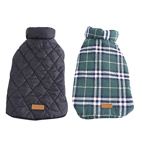 Kuoser Cozy Waterproof Windproof Reversible British style Plaid Dog Vest Winter Coat Warm Dog Apparel for Cold Weather Dog Jacket for Small Medium Large dogs with Furry Collar (XS - 3XL ),Green M (Jackets For Bulldogs compare prices)