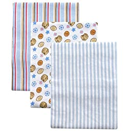 3-Pack Flannel Receiving Blanket Set, Blue
