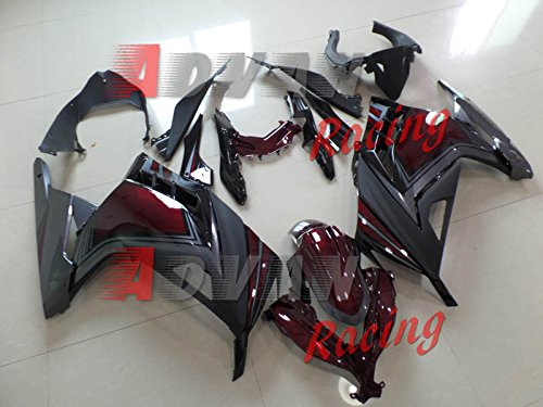 Moto Onfire Aftermarket Wine Red Black Fairings Kit For Kawasaki Ninja 300 2013 2014 2015 2016 (Kawasaki Ninja 300 Fairings compare prices)