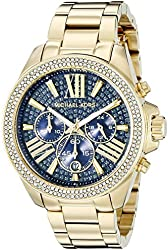 Michael Kors Women's Wren Gold-Tone Bracelet Watch with Blue Crystals MK6291