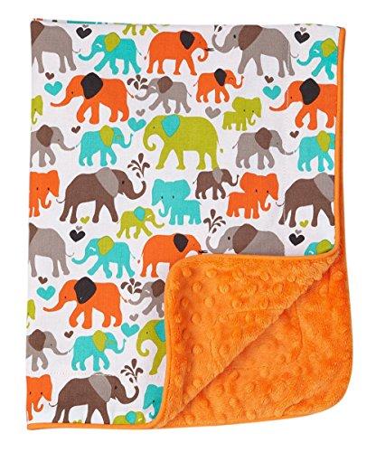 Baby Boy Blanket in Elephants on Orange Dimple Dot Minky - Great Travel Blanket - 1