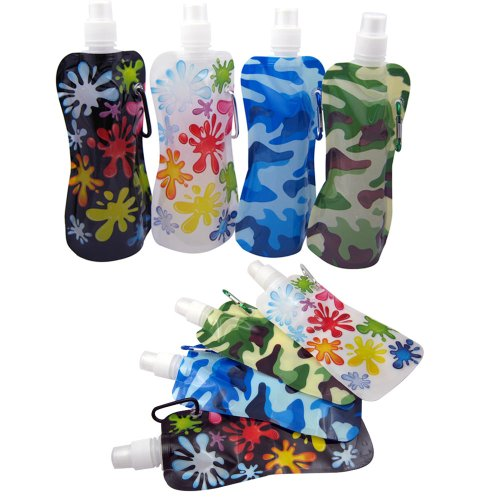 6 Flexible Collapsible Foldable Reusable Water Bottles Ice Bag Camp Bpa Free New front-1014610