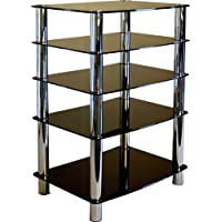 Centurion GT-6 Black Glass and Chrome TV Table Stand Shelving for DVD Player, Video Recorder, Satellite Receiver, or Home cinema Equipment
